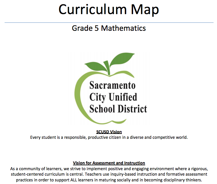 SCUSD Curriculum Maps for Mathematics Sacramento City Unified