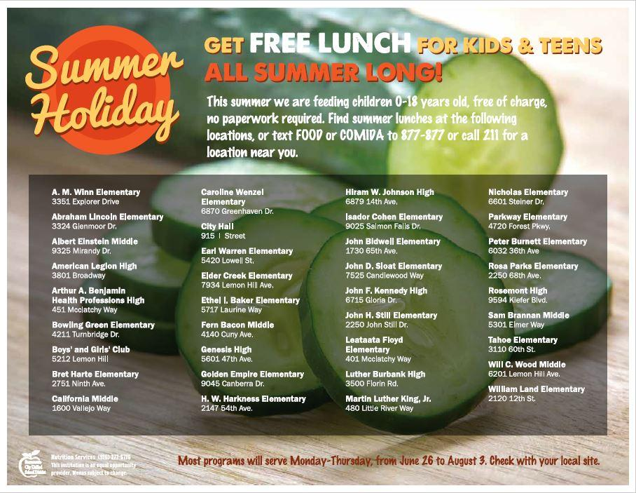 Kids eat free this summer - Sacramento City Unified School District