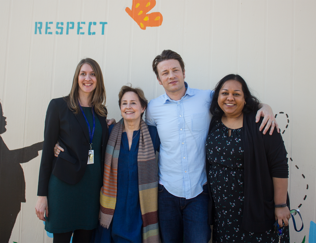 Assistant Principal Rachel Cooper, Chef Alice Waters, Chef Jamie Oliver and Principal Shana Henry