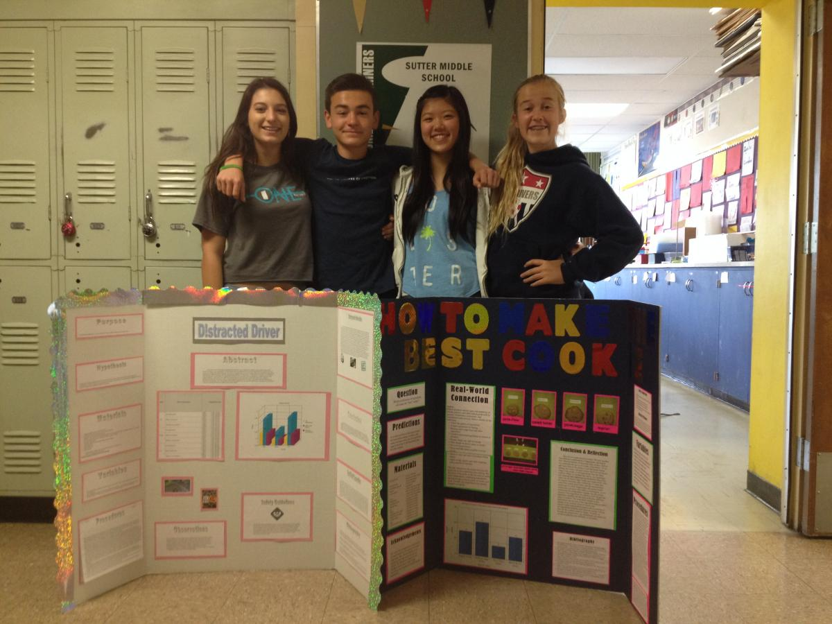 Juan Carlos (J.C.) Arguello and Lili Henriquez won First Place for their project on  Distracted Drivers; Maggie Murrell and Steffany Wong won Honorable Mention for Cookie Chemistry