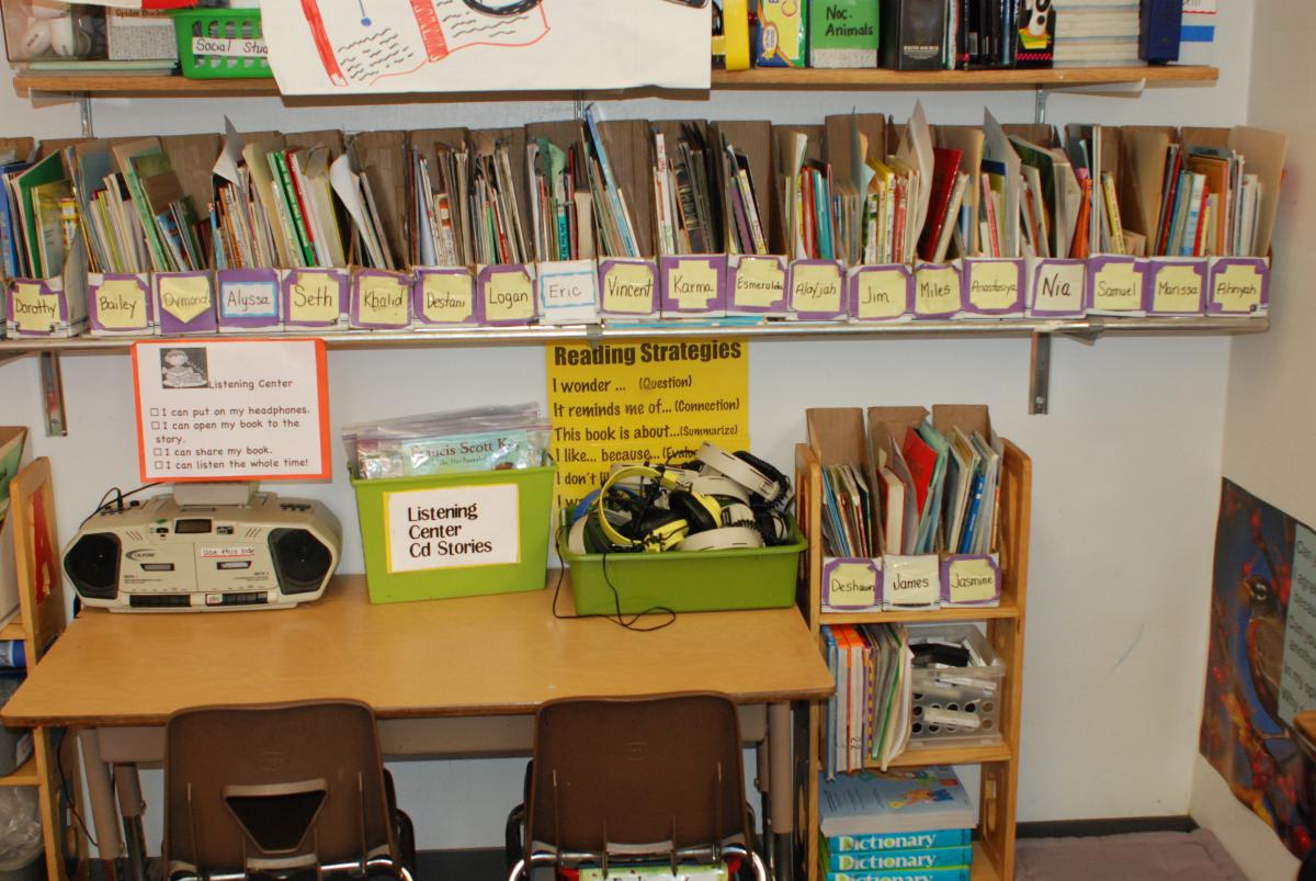 Book Boxes, one per student, can hold students' independent reading choices, chosen from the classroom library and switched out once a week.