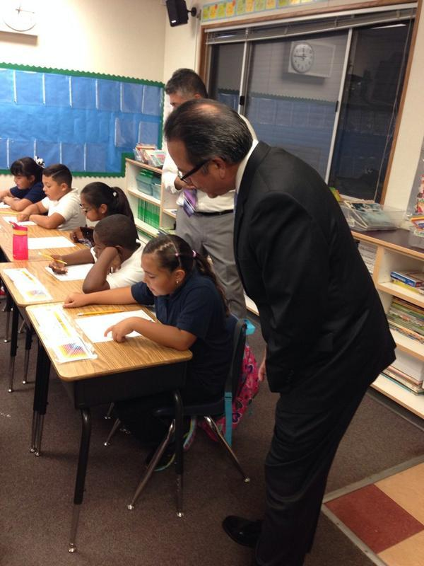 Superintendent Banda visiting a Spanish Immersion program at Cesar Chavez Intermediate School
