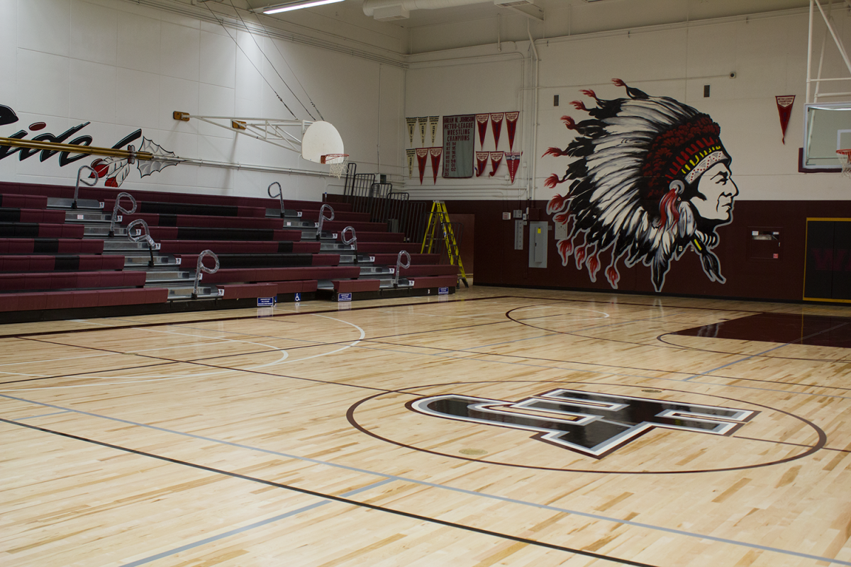 Hiram Johnson High School's new gym floor.