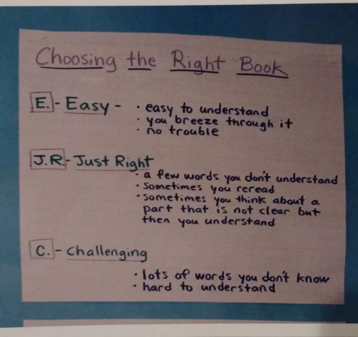 "This chart includes ""understand"" as a focus. We want our students to read and make meaning. It's okay to also read easy and challenging books. Avoid using ""too"" easy and ""too"" challenging"