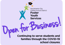 "Lavender box with Foster Youth Services logo that says ""Open for Business"""