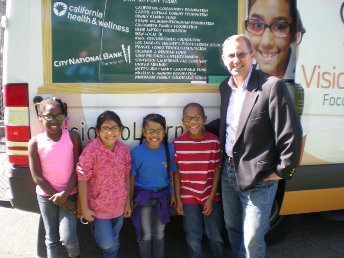Image of Vision to Learn's mobile clinic rolls into Leataata Floyd
