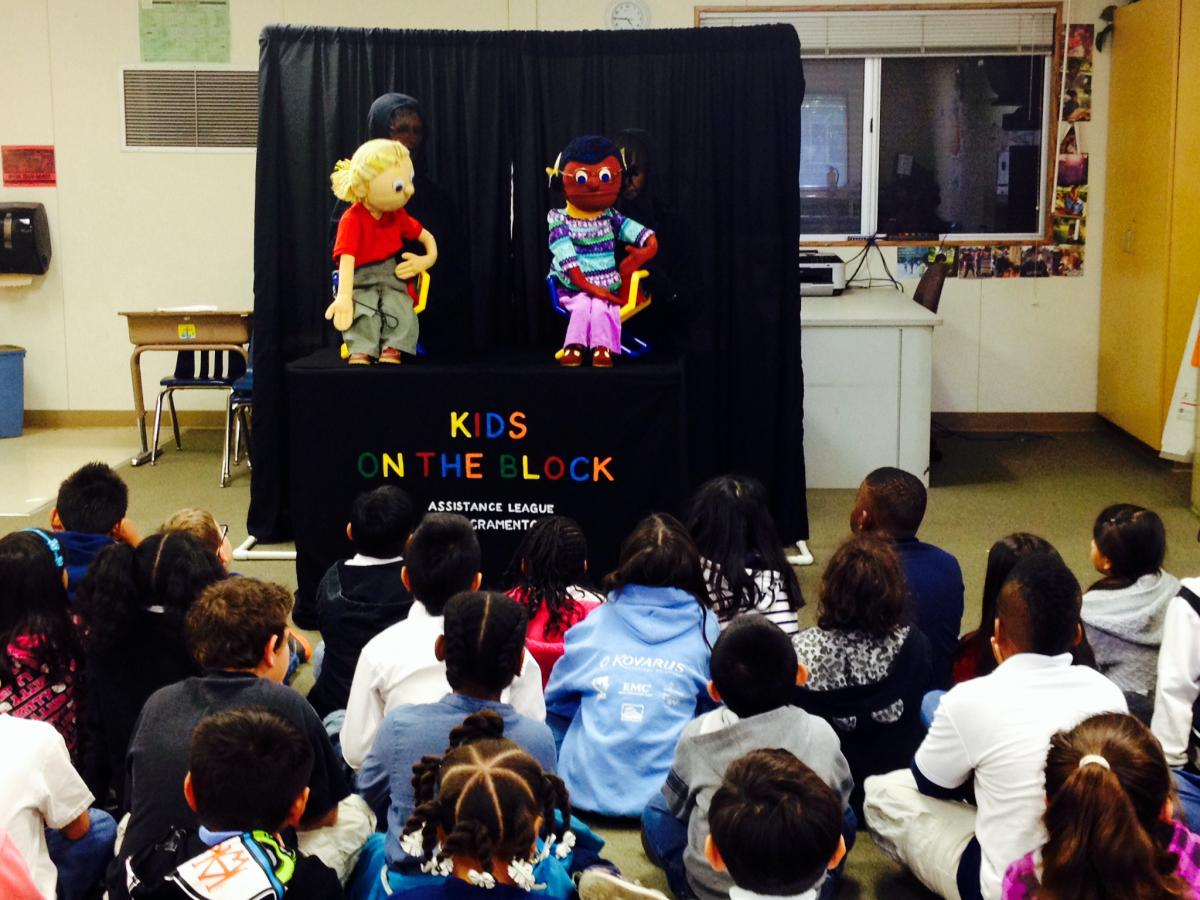 Image of Kids on the Block puppet show connects with students