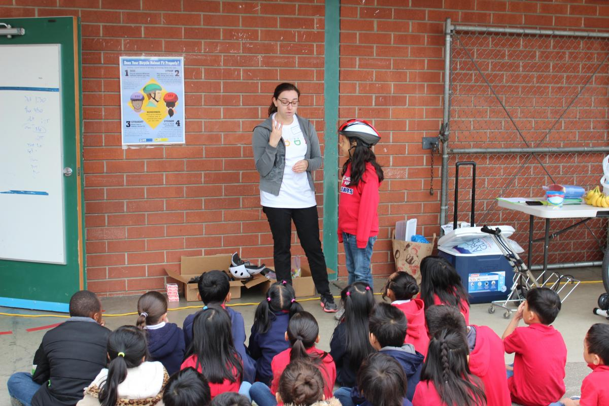 Image of Camellia students learn about bicycle safety for Bike Month 2015