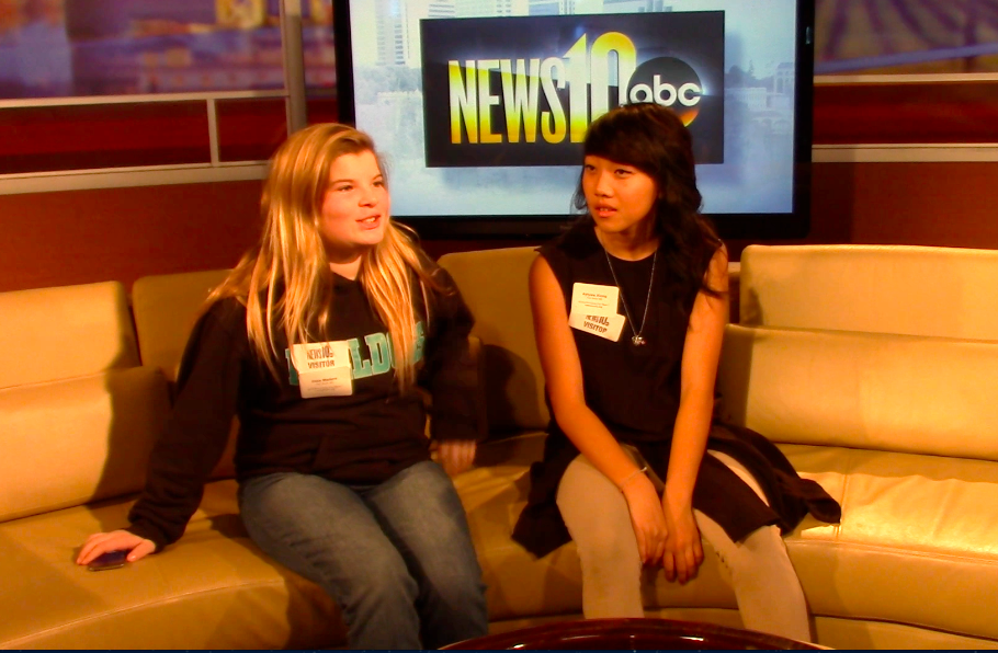 Image of Fern Bacon students visit with news anchors