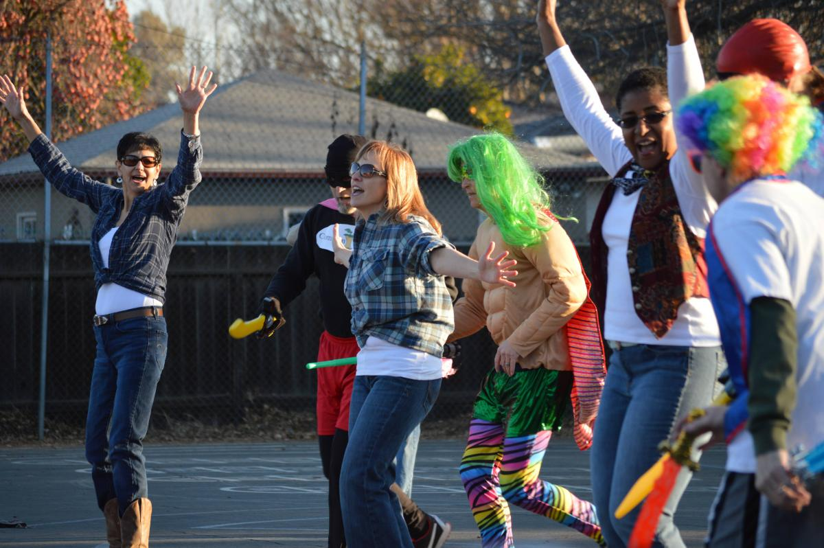 Image of Phoebe Hearst teachers, staff surprise kids with flash mob performance